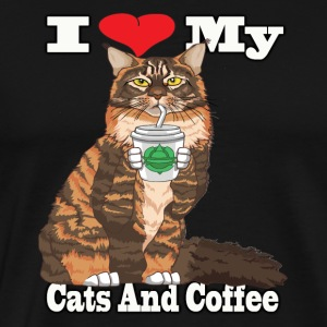 Maine Coon Cat And Coffee Products - Men's Premium T-Shirt