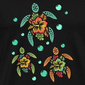 Tropical Hawaiian Sea Turtles - Men's Premium T-Shirt