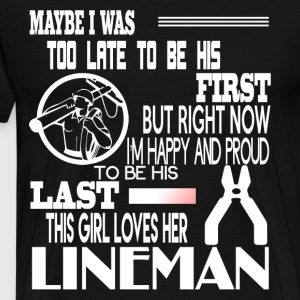 My Husband Is A Lineman T Shirt - Men's Premium T-Shirt