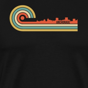 Retro Style Anchorage Alaska Skyline - Men's Premium T-Shirt