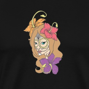 Female Skull with Hibiscus - Men's Premium T-Shirt