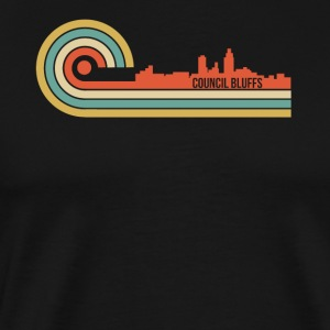 Retro Style Council Bluffs Iowa Skyline - Men's Premium T-Shirt
