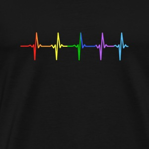 Rainbow Pulse Hearbeat LGBT - Men's Premium T-Shirt