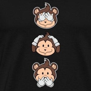 3 monkeys - gift - present - boy - girl - kids - Men's Premium T-Shirt