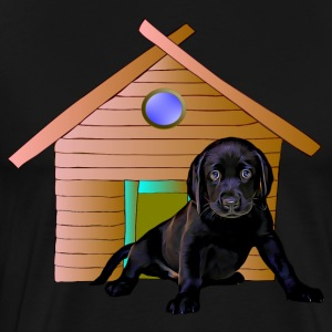Cute Labrador at dog kennel - Men's Premium T-Shirt