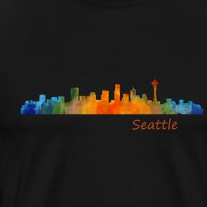 Seattle washington City Skyline in watercolor art - Men's Premium T-Shirt