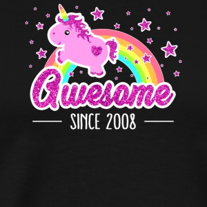 Awesome Since 2008 Birthday Year Of Birth Unicorn - Men's Premium T-Shirt