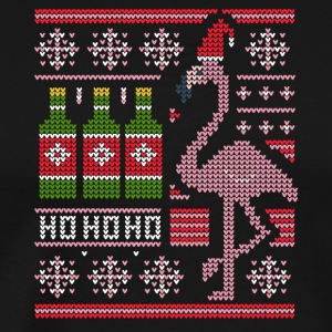 Flamingo Ugly Christmas Sweater Beer Drinker Booze - Men's Premium T-Shirt