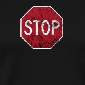 Stop One Way Direction Vintage Road Sign Gifts Tee - Men's Premium T-Shirt