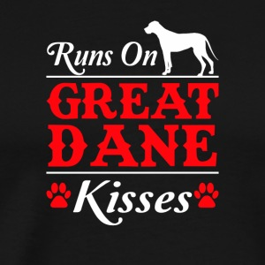 Runs On Great Dane Kisses Great Dane Dog - Men's Premium T-Shirt