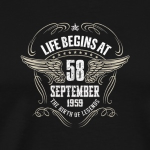 Life Begins At 58 Years Old September 1959 - Men's Premium T-Shirt