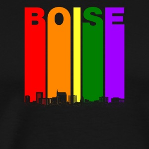 Boise Idaho Skyline Rainbow LGBT Gay Pride - Men's Premium T-Shirt