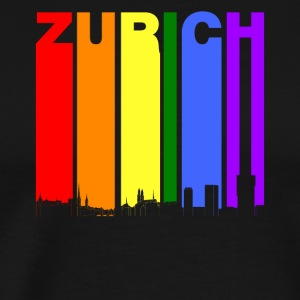 Zurich Switzerland Skyline Rainbow LGBT Gay Pride - Men's Premium T-Shirt