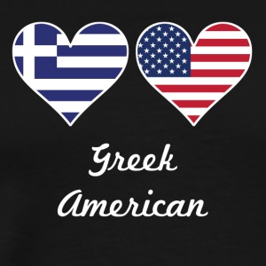 Greek American Flag Hearts - Men's Premium T-Shirt