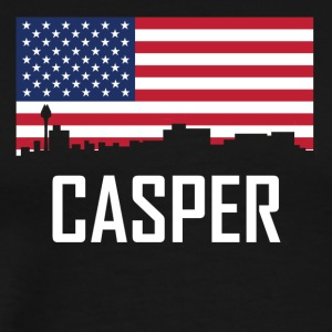 Casper Wyoming Skyline American Flag - Men's Premium T-Shirt
