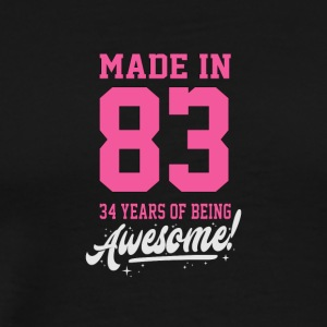 Birthday Made in 1983 - 34years of being awesome - Men's Premium T-Shirt