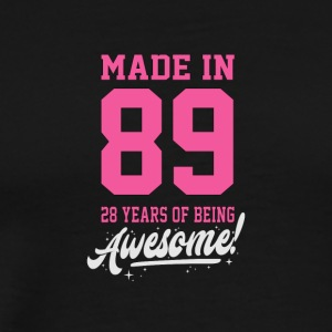 Birthday Made in 89 28 years of being awesome - Men's Premium T-Shirt