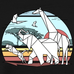 Scenic colored geometric african animals origami a - Men's Premium T-Shirt