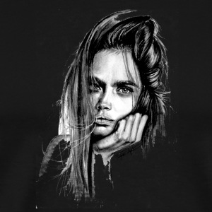 Cara Delevingne Artwork pencil sketch - Men's Premium T-Shirt