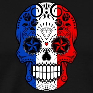 French Flag Sugar Skull - Men's Premium T-Shirt