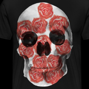 Skull and Red Roses in Watercolor