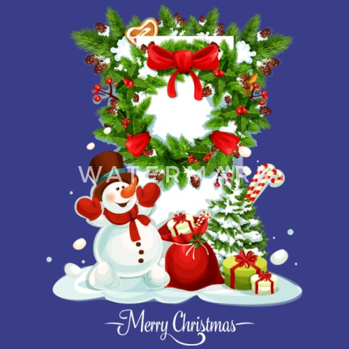 Merry Christmas Happy New Year snowman vector cool by Andriy ...