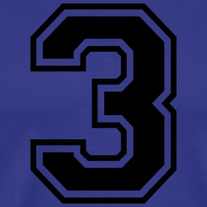 Number 3 college style font - Men's Premium T-Shirt
