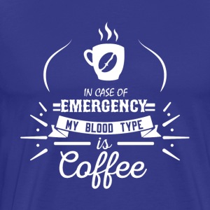 Coffee Blood Type | White Letters - Men's Premium T-Shirt