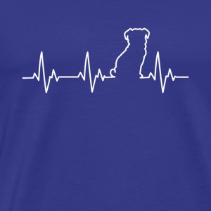Pug Pulse Dog Silhouette ECG Heart Beat - Men's Premium T-Shirt