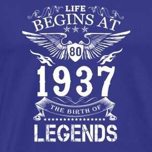 Life Begin At 80 1937 The Birth Of Legends - Men's Premium T-Shirt
