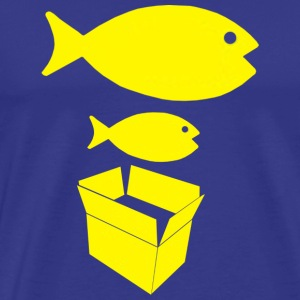 Big Fish Little Fish Cardboard Box Mens Blue T Shi - Men's Premium T-Shirt