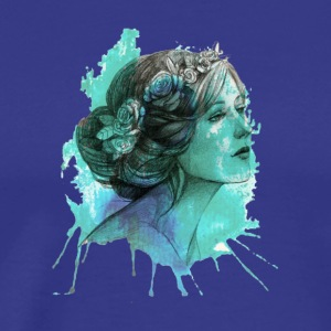 woman with floral wreath in watercolor - Men's Premium T-Shirt
