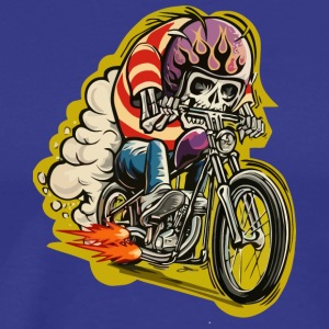 Skull riding a classic motorcycle - Men's Premium T-Shirt