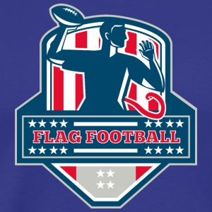 Flag Football QB Player Passing Ball Crest Retro - Men's Premium T-Shirt