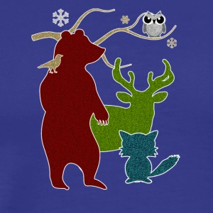 Woodland Creatures Winter Forest - Men's Premium T-Shirt