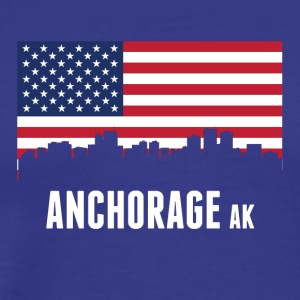 American Flag Anchorage Skyline - Men's Premium T-Shirt