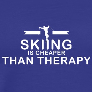 Skiing is cheaper than therapy - Men's Premium T-Shirt