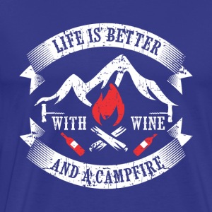 CAMPING: WINE AND CAMPFIRE GIFT - Men's Premium T-Shirt