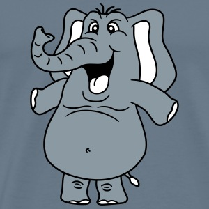Funny laughing comic cartoon elephant happy painte