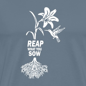 Reap what you sow Flower Hummingbird Heather - Men's Premium T-Shirt