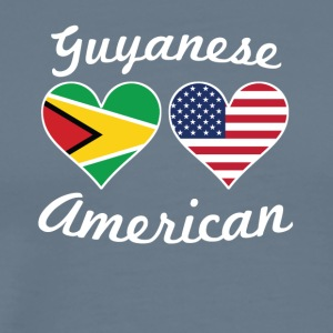 Guyanese American Flag Hearts - Men's Premium T-Shirt