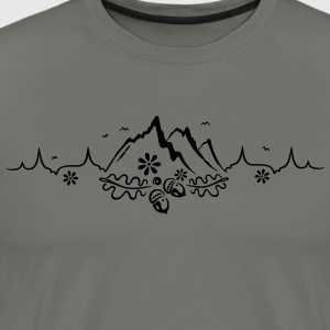 Heartbeat, love for hiking and mountaineering - Men's Premium T-Shirt