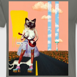 Sexy Cat Playing Ukulele W/ Background-HEW THE JEW - Men's Premium T-Shirt