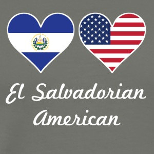 El Salvadorian American Flag Hearts - Men's Premium T-Shirt