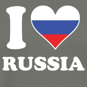I Love Russia Russian Flag Heart - Men's Premium T-Shirt