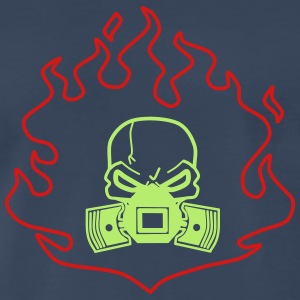 Head with Pistons in Fire - Men's Premium T-Shirt