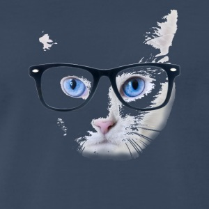 Blue Eyed Nerdy Cat With Glasses - Men's Premium T-Shirt