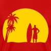 surfer palms sun surfboard surfing sundown sunset swim beach - Men's Premium T-Shirt
