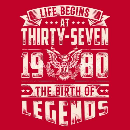 Life Begins at Thirty-Seven Legends 1980 for 2017 Men s Premium T ... bc4daff9012f