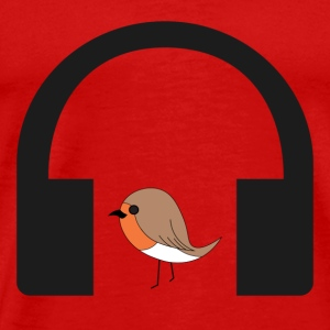 bird listen to music - Men's Premium T-Shirt